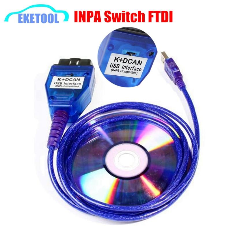 Для BMW INPA Ediabas K + DCAN Интерфейс Новый FTDI FT232RQ для BMW серии с переключателем INPA OBD2 20Pin Диагностика проще в эксплуатации