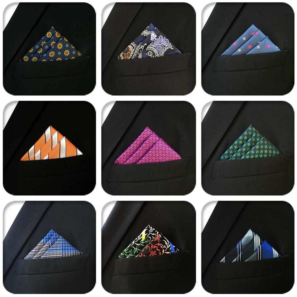 Solid Geometric Classic Mens Pocket Square Silk Wedding Paisley Hanky Groom Jacquard Handkerchief