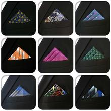 Solid Geometric Classic Mens Pocket Square Silk Wedding Paisley Hanky Groom Jacquard Handkerchief