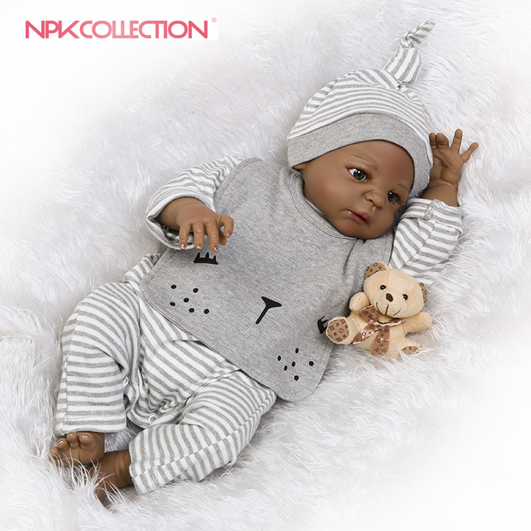 NPK reborn doll with soft real gentle  touch black boy doll with full vinyl body for children