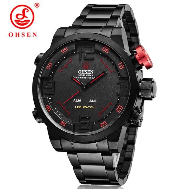 78246d1517a OHSEN Homens Relógios Militares À Prova D  Água Completa aço Quartz Digital  LED Relógio de