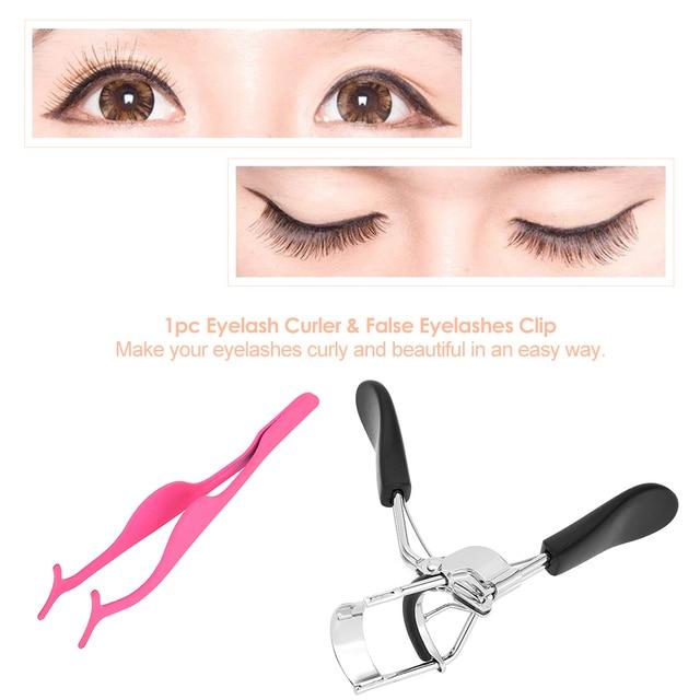e97a99e6155 2pcs/set False Eyelashes Clip StainlessSteel Tweezers Eye Lash Applicator  Eyelash Extension Remover Tweezers Nipper Makeup Tools