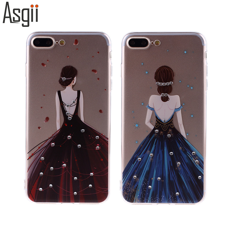 Free Tempered Glass!For iPhone 6 6S Plus 7 7Plus Case for samsung S8 PLUS Cover Luxury Diamond Soft Ultra Thin TPUfor Girl Women