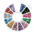 12 Colors Fashion Sparkling Art Nail 3D Glitter Round Rhinestone Deco Crystal Gem