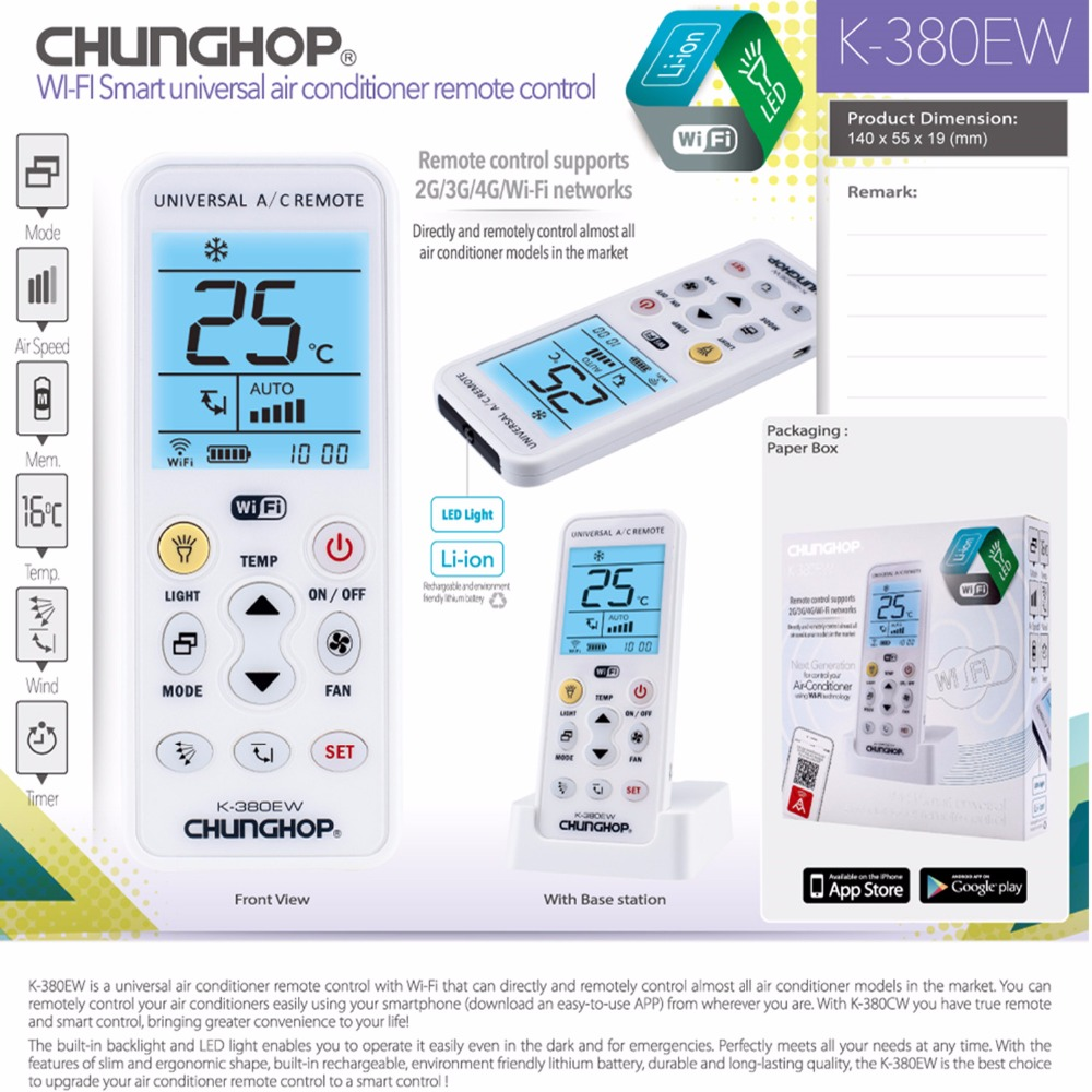 WIFI Universal A/C controller Air Conditioner air conditioning remote  control CHUNGHOP K 380EW-in Remote Controls from Consumer Electronics on ...