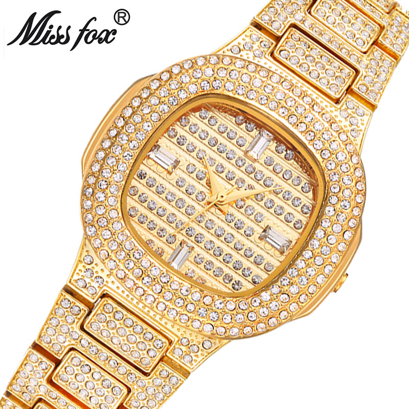 MISSFOX Miss Fox Casual Quartz Watch Women Gold Water Resistant Wrist Watches For Women Silver Ladies Watch Bracelet Clock