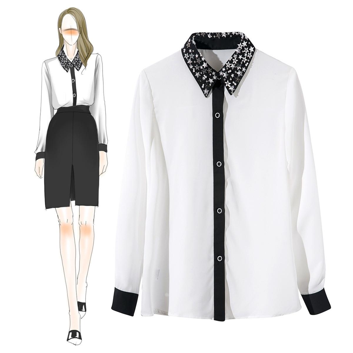 Блузка Шеин корейский Zanzea Неон Ранняя осень новый стиль нагрудные бусины, блёстки, рукава, женские рубашки для мальчиков, шифон женская 971910