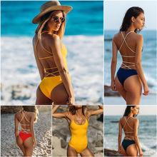Womens sexy bareback knitting rope bikini in the new pure-color swimsuit of 2019