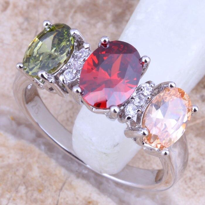 Сладкий многоцветной Multigem штамп 925 женские украшения размер кольца 6 / 7 / 8 / 9 бесплатная доставка и мешочек R1484