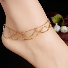 Newest Beach Jewelry Barefoot Link Chain Foot Bangle Bracelet Golden Mesh Tassel Anklet