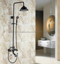 Black Oil Rubbed Brass Wall Mounted Rain Shower Faucet Tub Spout Mixer Tap W/ Hand Shower Sprayer Tap Nhg123 polished chrome led rain shower head valve mixer tap w hand shower sprayer