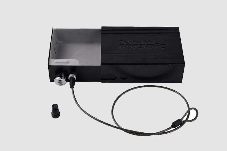 Car Safes Portable Safe Box Password Lock Safes Jewelry Cash Pistol Storage Box Aluminum alloy Security Strongbox Cable Fixed (22)