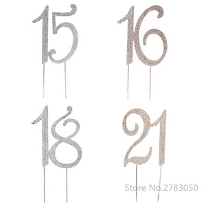 Image 1 - Diamante ריינסטון מס 15/16/18/21 עוגת טופר עבור 15th 16th 18th 21th יום הולדת יום נישואים מסיבת עוגת קישוט