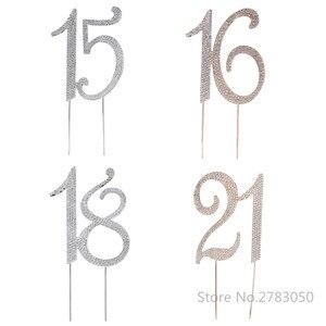 Image 1 - Diamante Strass No. 15/16/18/21 Cake Topper per La 15th 16th 18th 21th Compleanno Anniversario di Matrimonio decorazione Della Torta Del Partito