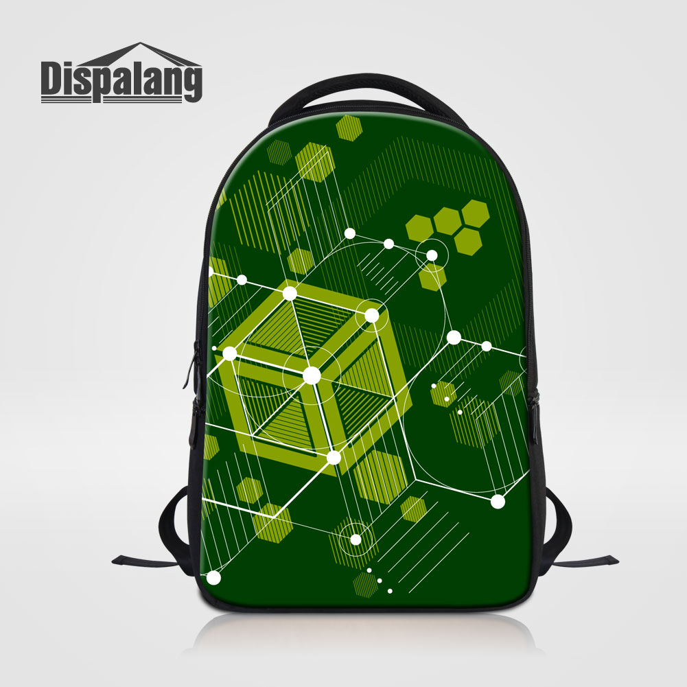 Dispalang Personalized Geometric Backpack For Laptop Notebook School Bags For College Students Men's Travel Bag Rucksack Mochila 14 15 15 6 inch flax linen laptop notebook backpack bags case school backpack for travel shopping climbing men women