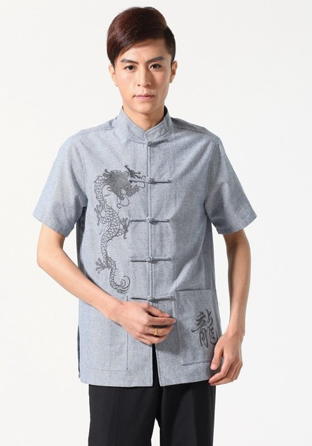New Arrival Summer Chinese Men's Linen Embroidery KungFu Shirt Top with Pocket Size S M L XL XXL XXXL Free Shipping M0052