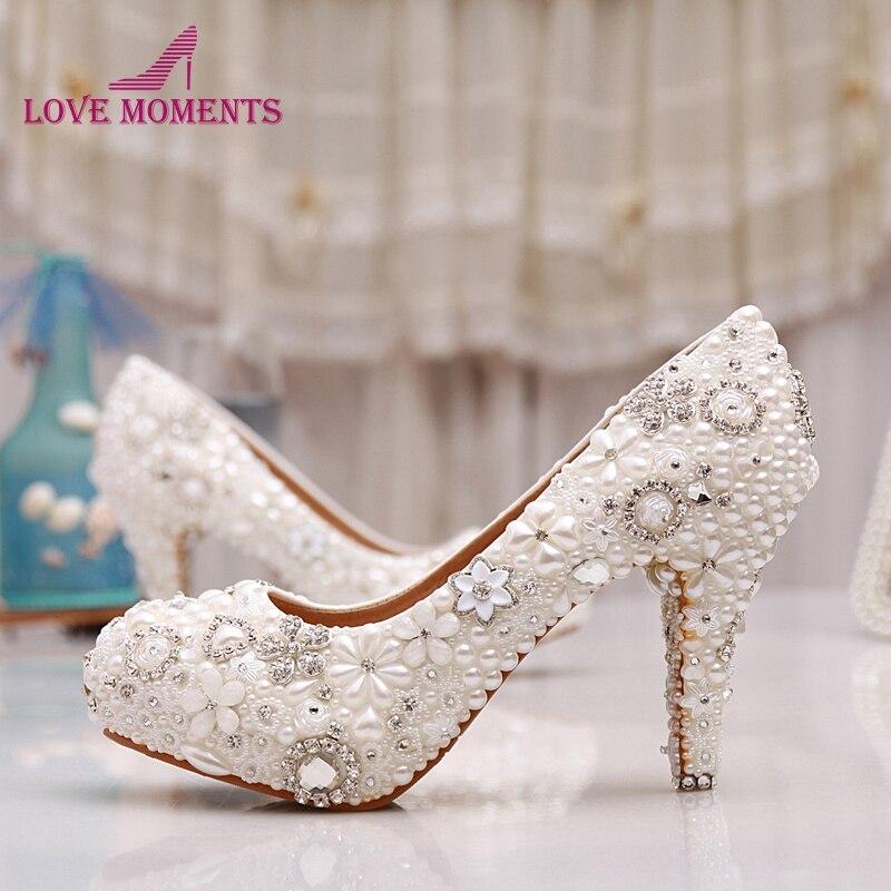 Luxuy Handmade Pearl Crystal Diamond Wedding Shoes White Bridal Dress Shoes Women Platform High heels 3 Inches Glitter Pumps 2015 handmade white ivory pearl wedding shoes gorgeous diamond bridal shoes sexy women dress high heels pumps free shipping