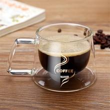 Простая кофейная кружка с двойными стенками ультра прозрачное стекло Кофе Чай Молоко Вода питьевая чашка домашняя вечерние Drinkware