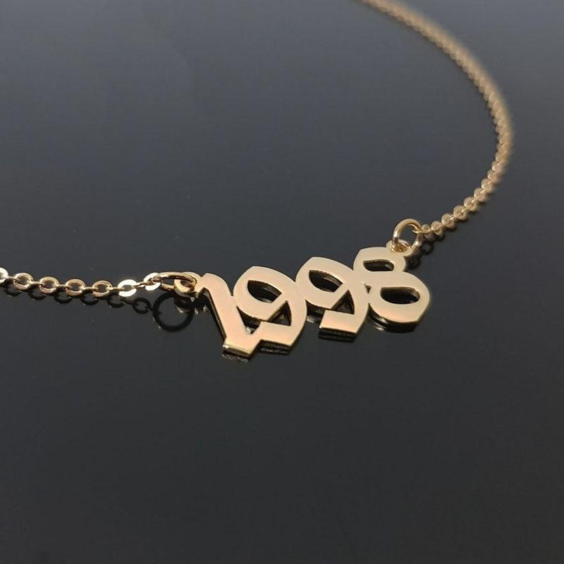 1985 do 2019 numer data urodzenia naszyjnik spersonalizowane biżuteria na zamówienie 1993 1994 1995 1996 1997 1998 1999 2000 Collier Femme bff