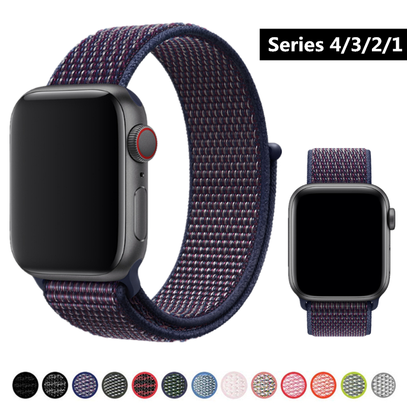 New Color Band For Apple Watch Series 4 40mm 44mm Nylon Soft Breathable Sport Loop Wristbands for iWatch 3/2/1 38mm 42mm Strap 20 colors sport band for apple watch band 44mm 40mm 38mm 42mm replacement watch strap for iwatch bands series 4 3 2 1
