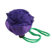 VSEN Wholesale Hot StylePurple Rose Shaped Foldable Recycling Eco friendly Carry Hand Bag for Shopping