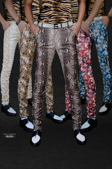 Non-mainstream Slim printing men's pu leather pants pants tide male personality boa Leopard nightclub costumes 116