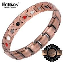 Hottime אדום נחושת צמידי עם מגנט עבור גברים נשים כאבי מפרקים הקלה יוקרה באיכות גבוהה מגנטי צמיד
