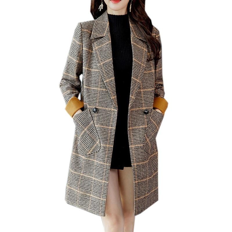 97bcc4a95b3c0 2018 Autumn Winter Wool Women Plaid Pockets Blends Office Work Long Coats  Fashion Brand Lady Slim