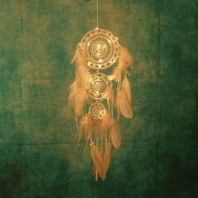 Handmade Feather Dream Catcher Wind Chimes Light Pendant Decoration