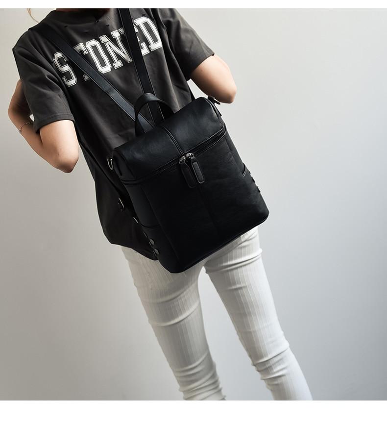 HTB1aFG a6DuK1Rjy1zjq6zraFXaB Simple Style Backpack Women Leather Backpacks For Teenage Girls School Bags Fashion Vintage Solid Black Shoulder Bag Youth XA568