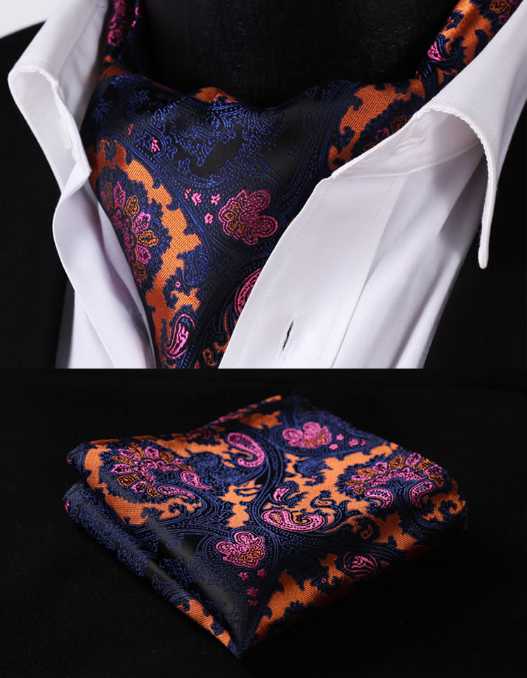 RF201V Navy Blue Orange Paisley Floral Silk Cravat Woven Ascot Tie Pocket Square Handkerchief Suit Set - HISDERN store