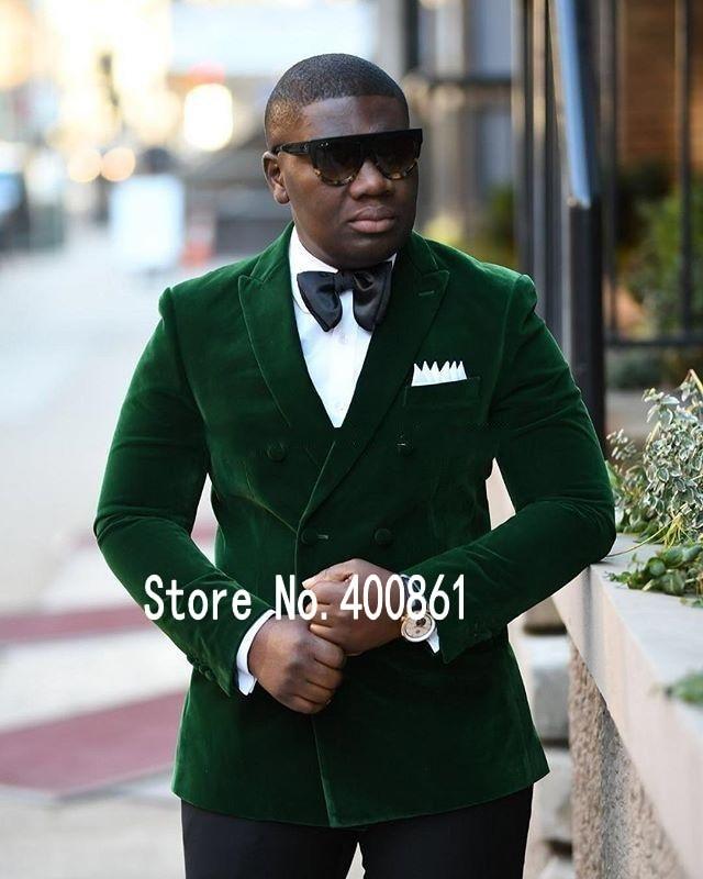 New Arrivals Green Velvet Mens Suits Groom Tuxedos Groomsmen Wedding Party Dinner Best Man Suits (jacket+pants+bow Tie) W:62