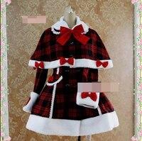 Рождественский костюм Зима Vestidos женщин Лолита платье принцессы накидка элегантные пальто пользовательские Косплей