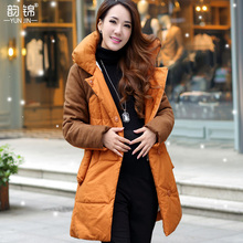 2016 New Womens Patchwork Pattern Slim Style Cotton Coat Womens Turn-down Collar Thick Zipper Coat