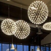 Modern Pendant Lamp LED Firework Ball Pendant Lights Silver Table Hanging Lamps Globe Light Fixtures Lustre