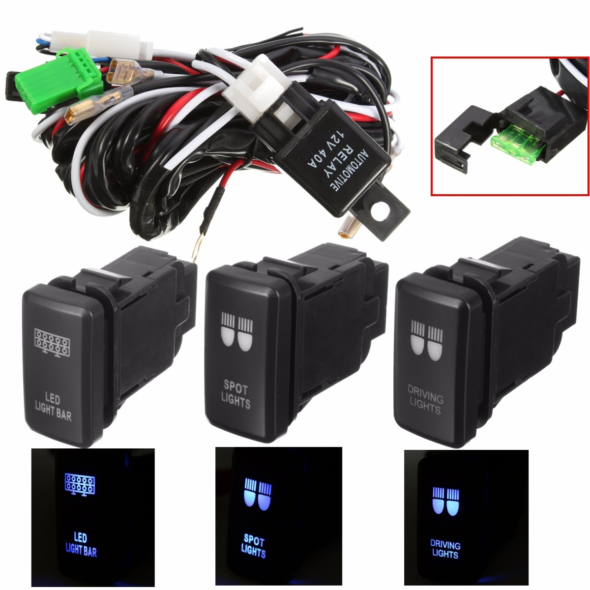 Car 12v 4 Wiring Blue Led Light Bar Switch On Off For Toyota Trailer Converter Dc 40a Driving Spot Loom Harness Relay