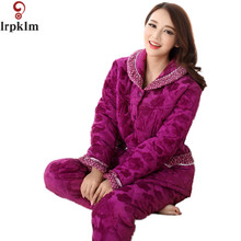 New Arrival Womens Winter Pajamas Sets Supper Soft Coral Fleece Pyjamas For Winter Quilted Coat And Pants Homewear XXXL  SY230
