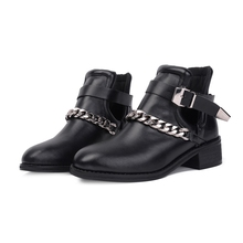 2017 Women Mental Chain Short Boots Motorcycle Ankle Booties Buckle Hollow Out Shoes