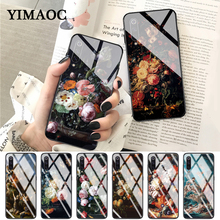 YIMAOC painting flower Butterfly In a Vase aesthetic Art Glass Case for Xiaomi Redmi 4X 6A note 5 6 7 Pro Mi 8 9 Lite A1 A2 F1