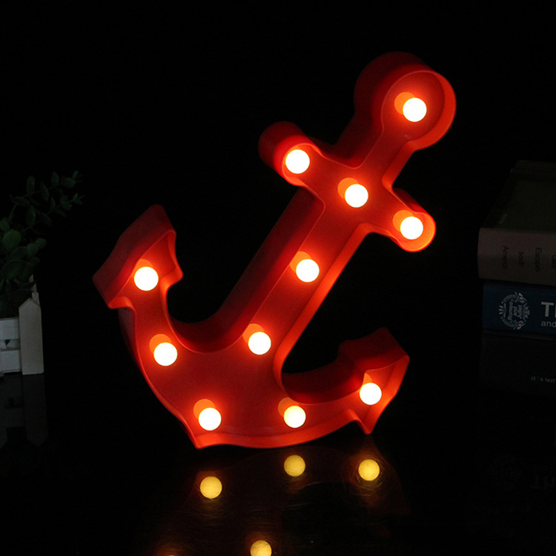 Cool Anchor Shape Night Light Dark Blue Red Black Color Pirate Sailor LED Lamp Marquee Sign
