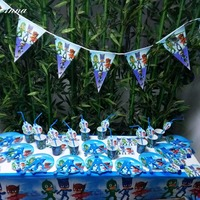 78pcs PJ Masks Party Supplies Plate Cup Flags Tablecloth Knives Forks Spoons Straws Invited Cards Blowout