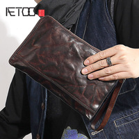 AETOO Vintage handmade men's hand bag men's soft cowhide thin temperament envelope bag