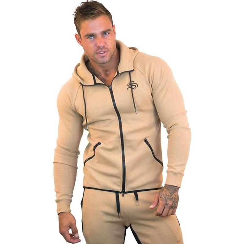 2019 printemps automne hommes ensembles survêtement deux pièces ensembles pull à capuche veste à glissière + pantalon hommes costume sportwear mâle Hoodies - 5