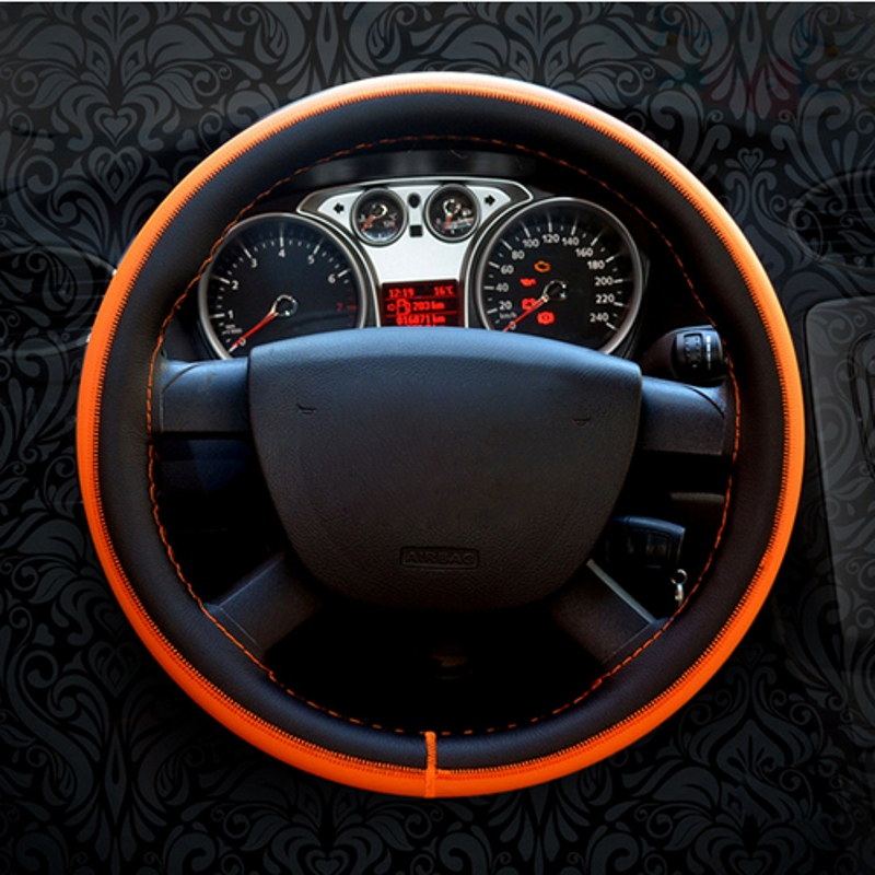 Car Steering Wheel Cover DIY Cowhide Genuine Leather Car Steering Wheel Cover On Wrap Cover WIth Needles and Thread 2017 new
