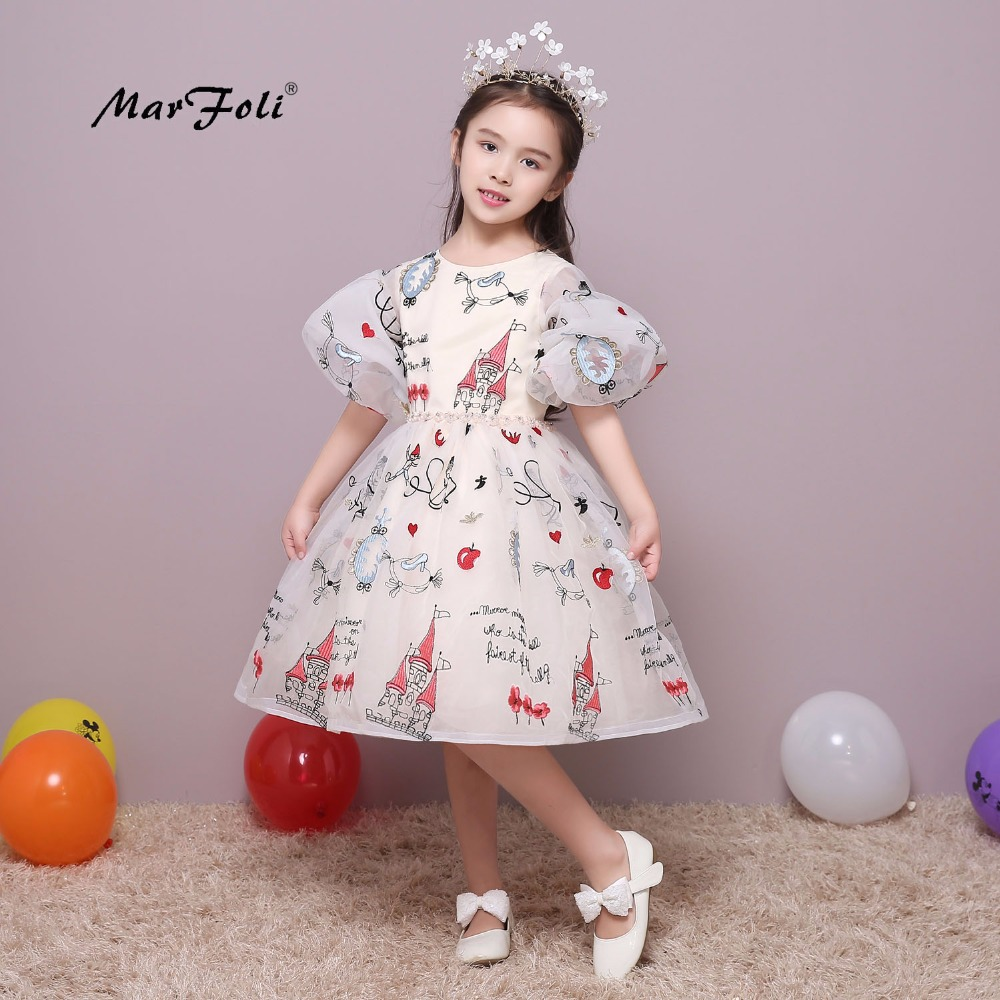 Marfoli Flower Girl Dress Ivory White Cinderella Princess Dress Birthday Christmas Party Dress Puff Sleeve Costume for Kids