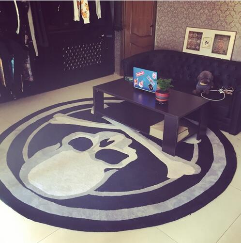 Large! Thick! Acrylic Skull Round Carpet trend personality black and white living room sofa bed bedroom fashion rug room mat image