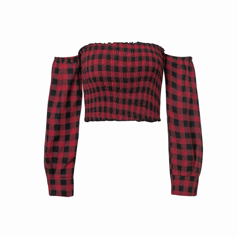 Slash Neck Women Plaid All Cotton Long Sleeve Top Tee Red And Black Plaid Off Shoulder Casual Crop Top Tee