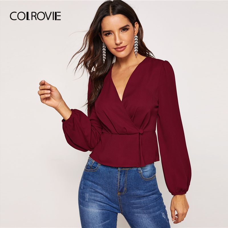 COLROVIE Burgundy V-Neck Surplice Long Sleeve Office Elegant Blouse Shirt Women Clothes 2019 Spring Fashion Shirt Ladies Tops