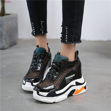 NAYIDUYUN  Women Lace Up Cow Leather Wedge Platform Ankle Boots Casual Party Shoes Breathable Mesh High Heel Pumps Punk Sandals