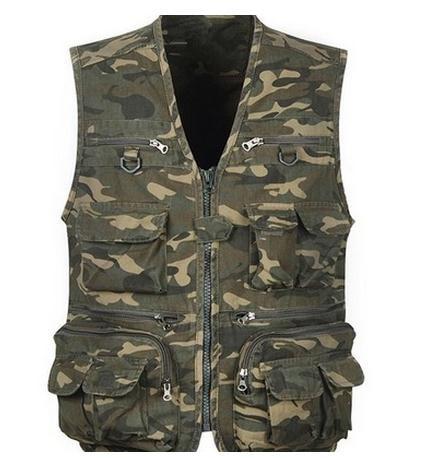 Military Male Summer Camouflage Vest Coats Leisure Large Size Mens Vestcoats Coletes Masculino V Neck Tooling